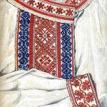 Haft - perebory na koszuli męskiej (stroje podlaskie), rys. Turska J., Polski haft ludowy, Warszawa 1997