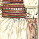 Hafty na koszuli kobiecej - łańcuszkowy, krzyżykowy, sznureczkowy (strój krzczonowski), rys. Turska J., Polski haft ludowy, Warszawa 1997